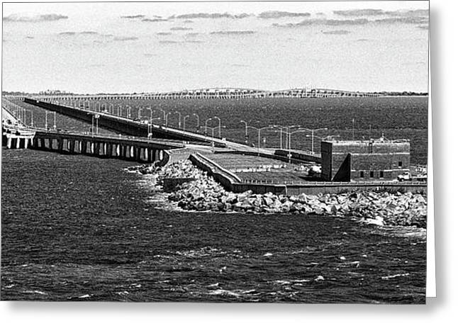 Greeting Card featuring the photograph Chesapeake Bay Bridge Tunnel E S V A Black And White by Bill Swartwout Fine Art Photography