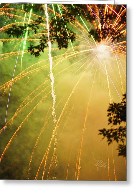 Yellow Fireworks Greeting Card