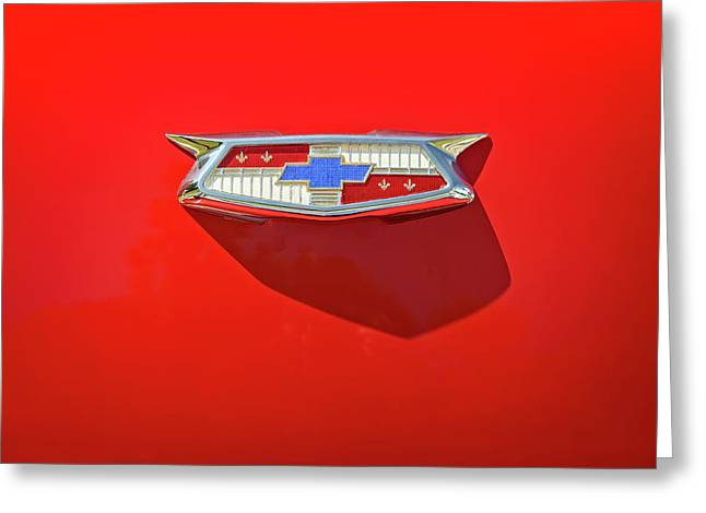 Chevrolet Emblem On A 55 Chevy Trunk Greeting Card