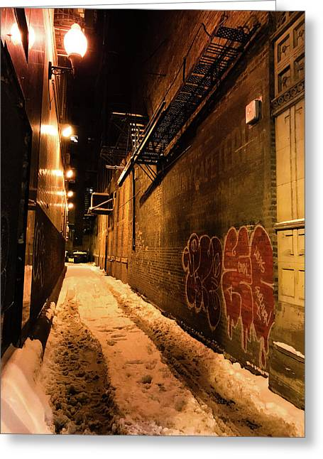 Chicago Alleyway At Night Greeting Card
