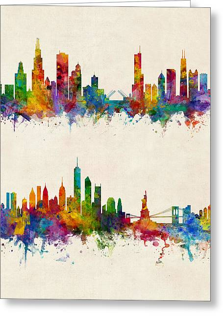 Chicago And New York City Skylines Greeting Card