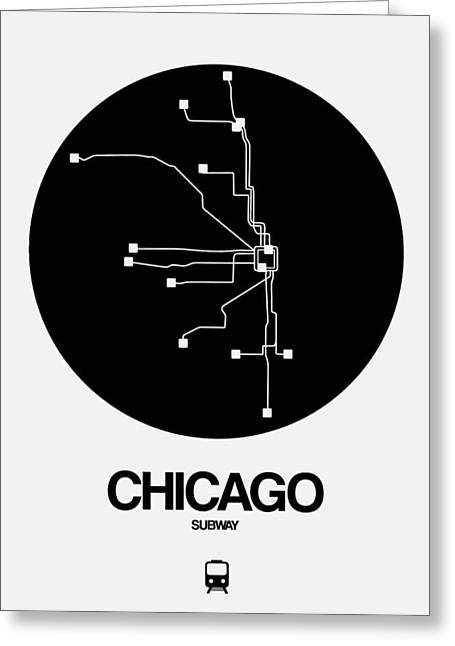 Chicago Black Subway Map Greeting Card