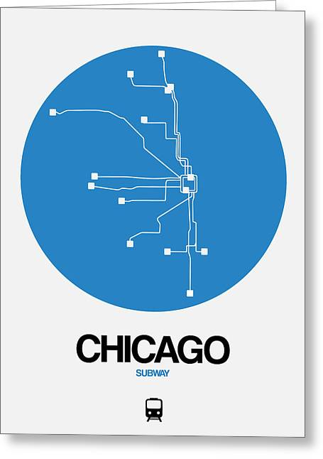 Chicago Blue Subway Map Greeting Card