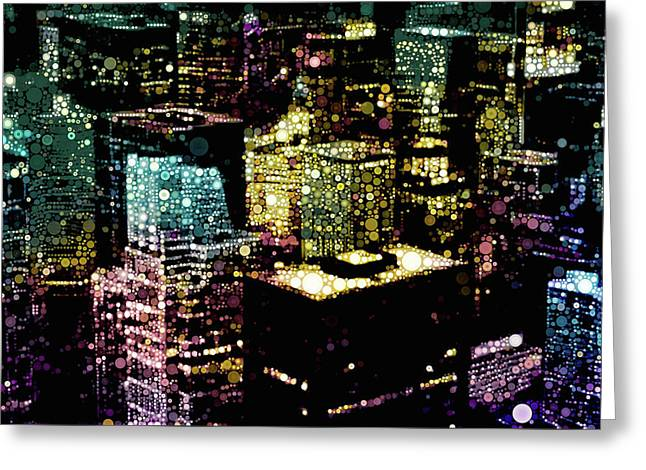 Greeting Card featuring the mixed media Chicago City Lights by Susan Maxwell Schmidt