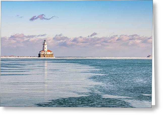 Chicago Harbor Light Landscape Greeting Card