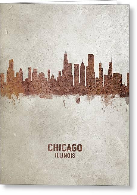 Chicago Illinois Rust Skyline Greeting Card