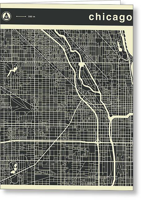 Chicago Map 3 Greeting Card