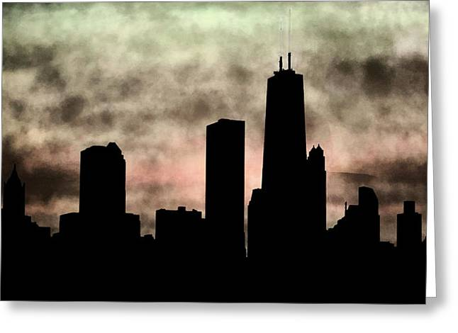 Chicago Skyline And Paint Greeting Card