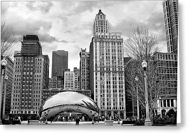 Chicago Skyline In Black And White Greeting Card