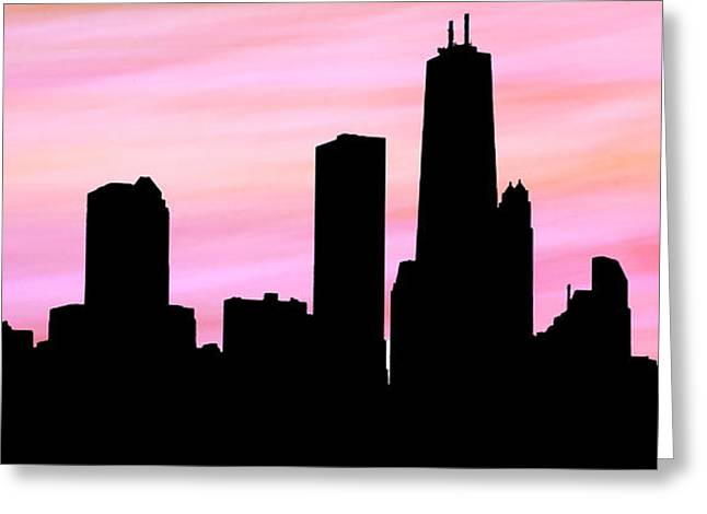 Chicago Skyline Peachy Pink Background Greeting Card