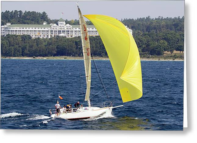 Greeting Card featuring the photograph Chicago To Mackinac Yacht Race Sailboat With Grand Hotel by Rick Veldman