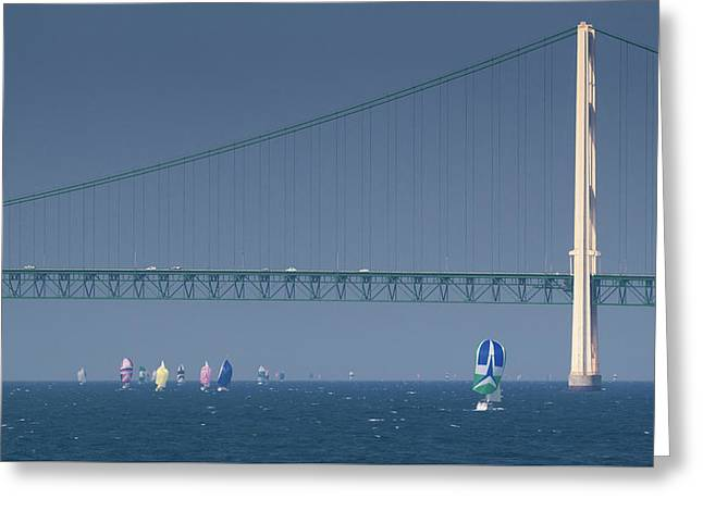 Greeting Card featuring the photograph Chicago To Mackinac Yacht Race Sailboats With Mackinac Bridge by Rick Veldman