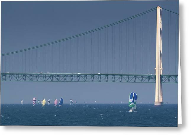 Chicago To Mackinac Yacht Race Sailboats With Mackinac Bridge Greeting Card