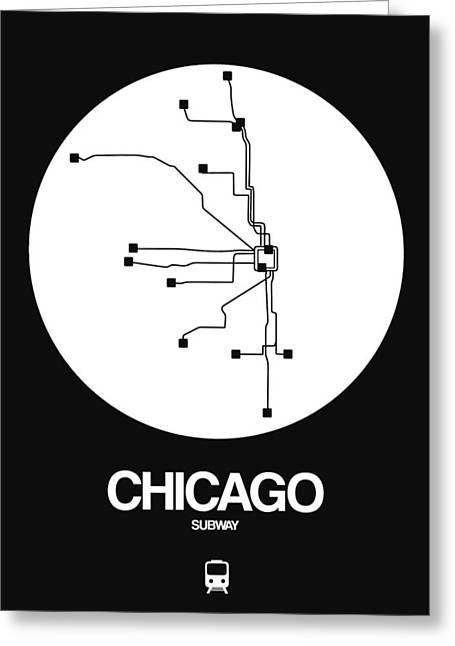 Chicago White Subway Map Greeting Card