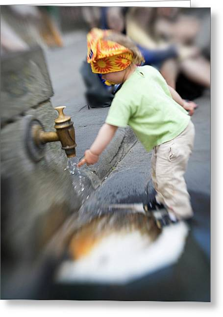 Child And Italian Water Spigot Greeting Card