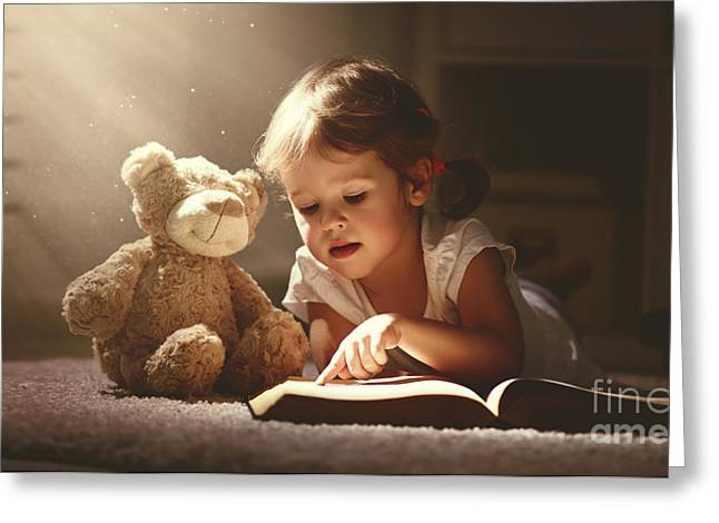Child Little Girl Reading A Magic Book Greeting Card
