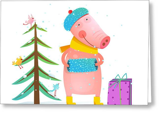 Childish Cheerful Little Pig In Winter Greeting Card