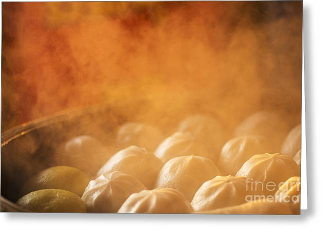 Chinese Dumplings Being Steamed On The Greeting Card