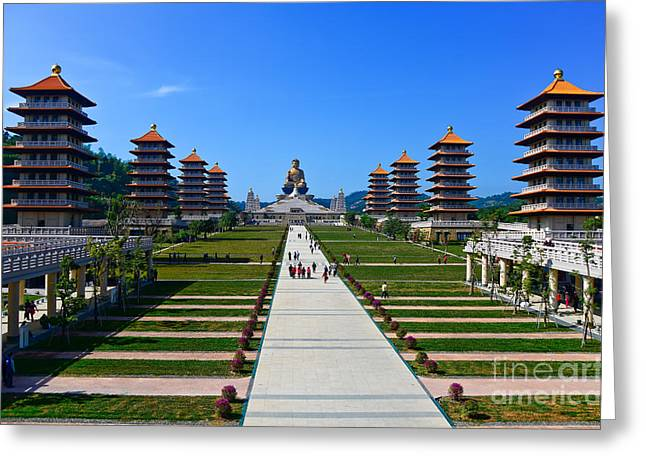 Chinese Temple And Golden Buddha Statue Greeting Card