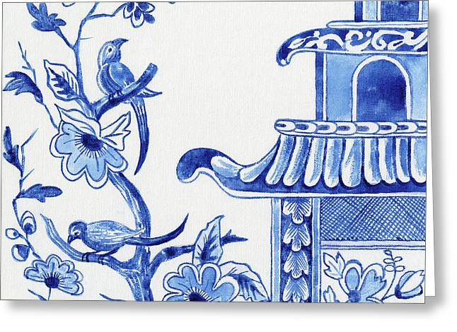Chinoiserie Blue And White Birds In Flowering Tree And Pagoda Greeting Card