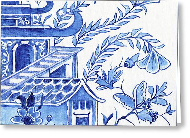 Chinoiserie Blue And White Pagoda Floral 1 Greeting Card