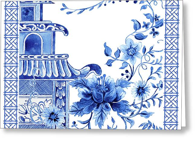 Chinoiserie Blue And White Pagoda With Stylized Flowers And Chinese Chippendale Border Greeting Card