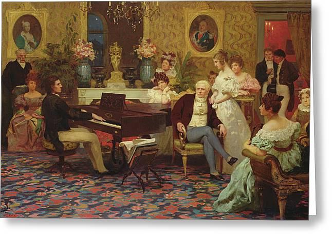 Chopin Playing The Piano In Prince Radziwills Salon Greeting Card