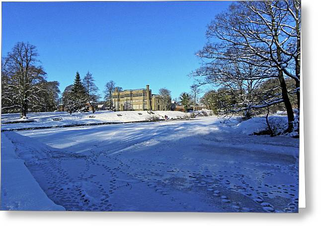 Chorley. Astley Hall In The Snow Greeting Card