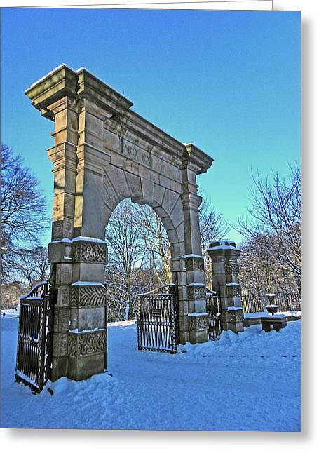 Chorley. Gates In The Snow Greeting Card
