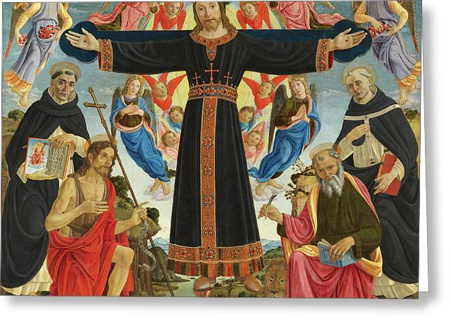 Christ On The Cross With Saints Vincent Ferrer, John The Baptist, Mark And Antoninus, 1495 Greeting Card