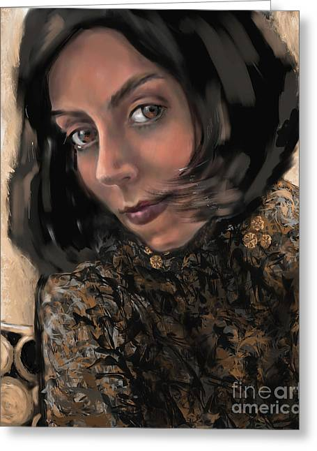 Greeting Card featuring the digital art Christina by Lora Serra