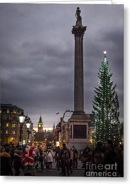 Christmas In Trafalgar Square, London Greeting Card