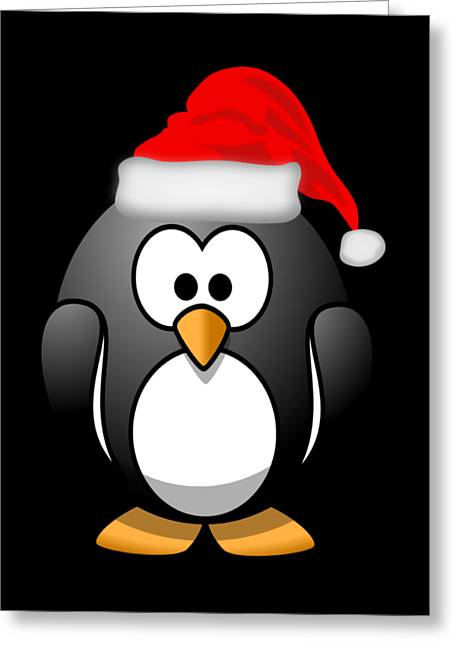Greeting Card featuring the digital art Christmas Santa Penguin by Flippin Sweet Gear