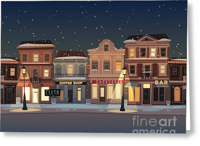 Christmas Town Illustration. Seamless Greeting Card