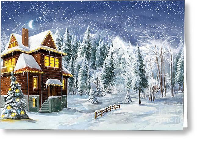 Christmas Winter Happy Scene - Greeting Card
