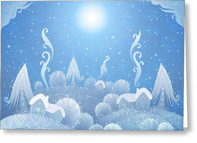Christmas Winter Landscape With Snow Greeting Card
