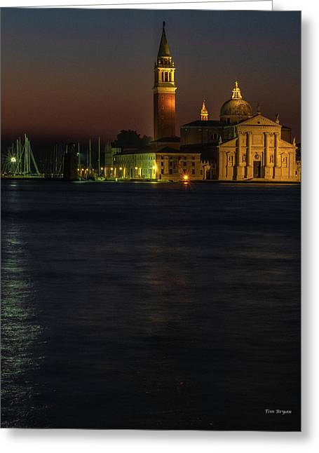 Greeting Card featuring the photograph Church Of San Giorgio Maggiore Before Sunrise by Tim Bryan