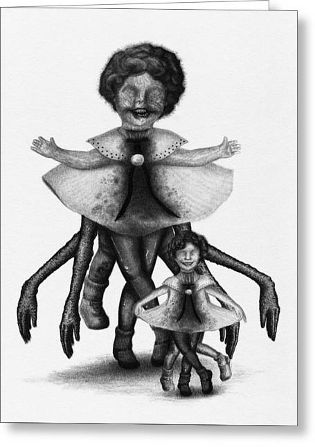 Cindy And Her Monstrous Doll - Artwork Greeting Card