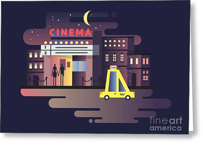 Cinema Building Night Greeting Card