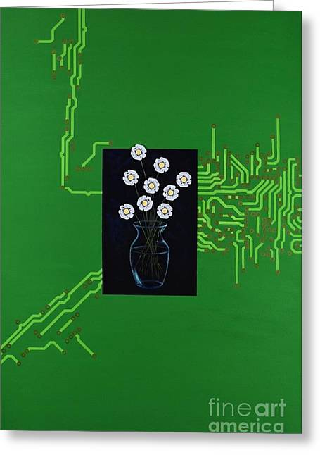 Greeting Card featuring the painting Circuit Board Bouquet by Mary Scott