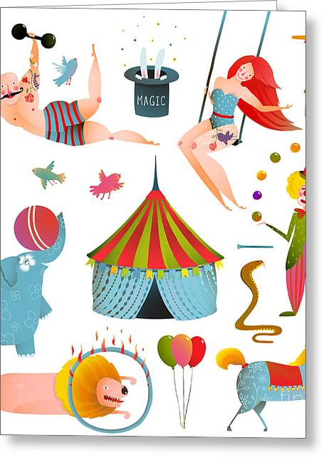 Circus Carnival Show Clip Art Vintage Greeting Card
