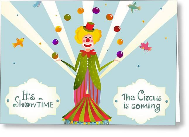 Circus Juggling Clown Carnival Show Greeting Card