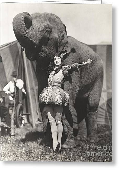 Circus Performer Posing With Elephant Greeting Card