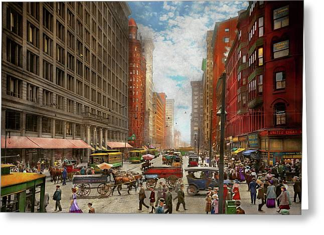 Greeting Card featuring the photograph City - Chicago Il - Marshall Fields Company 1911 by Mike Savad