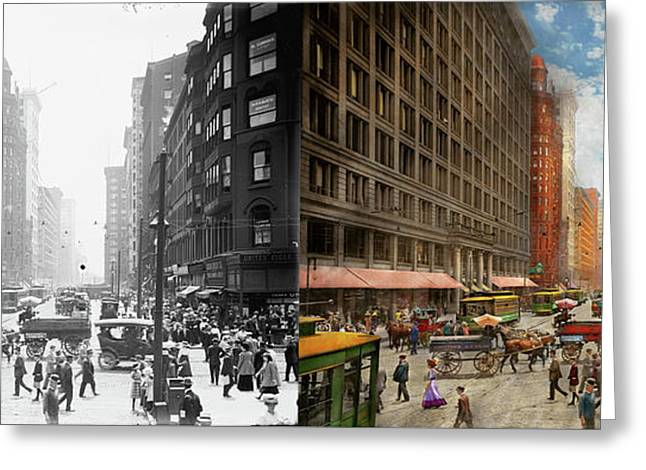 Greeting Card featuring the photograph City - Chicago Il - Marshall Fields Company 1911 - Side By Side by Mike Savad