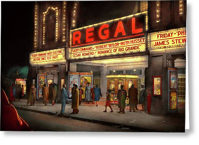 Greeting Card featuring the photograph City - Chicago Il - Nightlife At The Regal Theater 1941 by Mike Savad