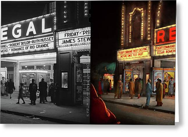 Greeting Card featuring the photograph City - Chicago Il - Nightlife At The Regal Theater 1941 - Side By Side by Mike Savad