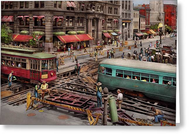 Greeting Card featuring the photograph City - Dc - Road Closed For Repairs 1941 by Mike Savad