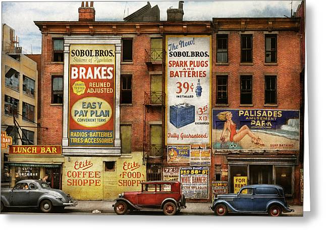 Greeting Card featuring the photograph City - New York Ny - Elite Lunch Bar 1938 by Mike Savad