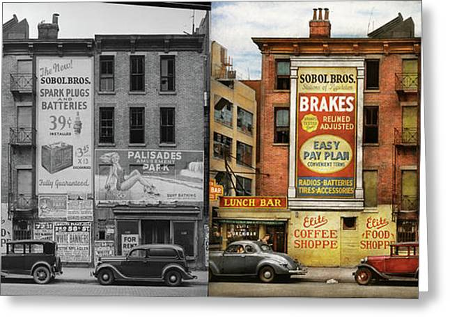 Greeting Card featuring the photograph City - New York Ny - Elite Lunch Bar 1938 - Side By Side by Mike Savad